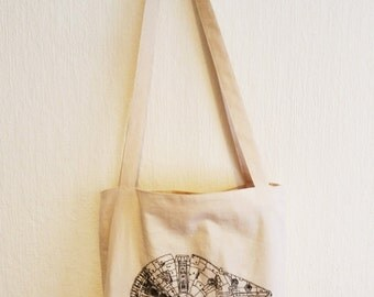 MILLENNIUM FALCON ,star wars, handmade, handstitched, embroidered, eco friendly tote bag