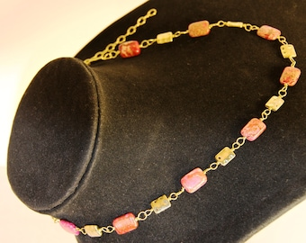 Delicate Wire-Wrapped Red Imperial Jasper Necklace