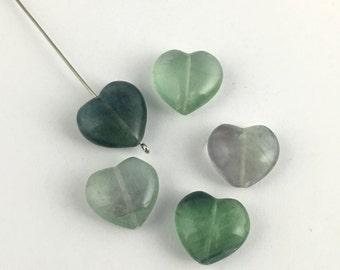 5 heart fluorite stone beads / 17mm #PP015