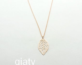 Rose Gold Leaf Necklace - Dainty Necklace, Rose Gold Necklace, Thin Necklace, Everyday Necklace, Leaf Necklace, Bridesmaid Necklace