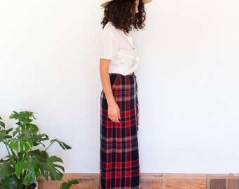 Red + Black Poppy Wool Wrap Skirt