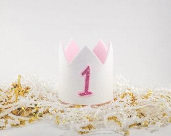 Baby's 1st Birthday Crown, First Birthday Crown, Glitter Crown, White Crown