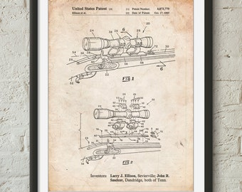 Black Powder Rifle Scope Patent Poster, Gun Enthusiast, Rifle, Hunting Decor, Hunter Gift, Gun Wall Art, PP0740