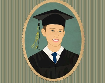 Graduation card. Graduation announcement or invitation. Digital illustration.