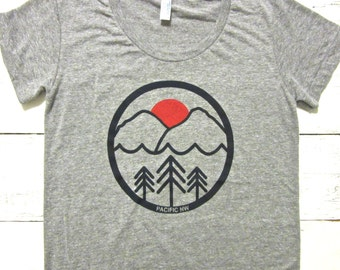 Womens Pac NW T-shirt. American Apparel. Pacific northwest graphic.