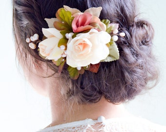 flower hair clip, floral hair clip, bridal hair clip, wedding hair clip, rose hair clip, flower headpiece, floral headpiece - TARRA