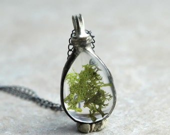 Moss Pendant Botanical Jewelry Soldered Glass Pendant Oxidized Silver Glass Drop Real Moss Pendant Natural Jewelry Rustic
