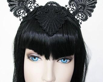 Cat Ear Headband Lace Fascinator Races Headpiece Burlesque Fantasy Horse racing Crown - Choose Colour