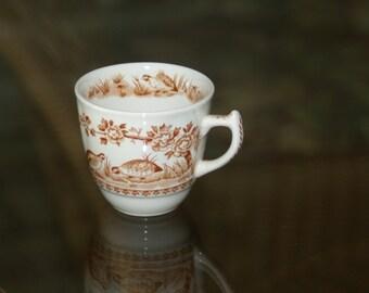 Vintage Espresso Teacup England Hunters Pattern Cup