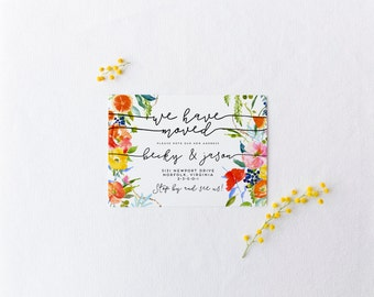 printable moving announcement · summer oranges · bright floral moving card · modern calligraphy · new home announce · we've moved printable