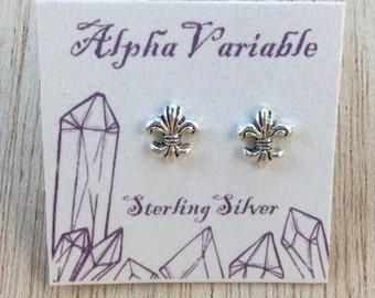 Sterling Silver Fleur De Lis Stud Earrings
