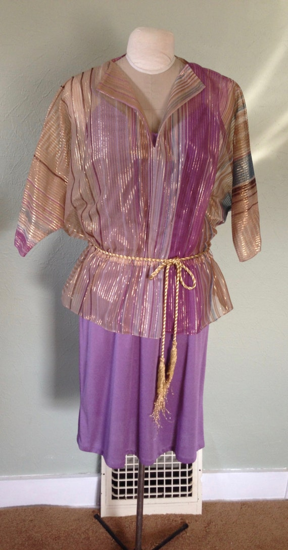 SALE! 1970's Purple Knit Dress With a Sheer Gold Metallic Striped Over Blouse with Dolman Sleeves Marked Size 8