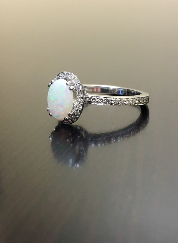 18K White Gold Halo Diamond Opal Engagement Ring Art Deco