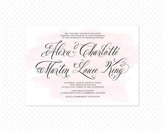 Printable Wedding Invitation - Pink Watercolor Splash with Elegant Calligraphy Script Wedding Invitation - Alexa Wedding Invitation Suite
