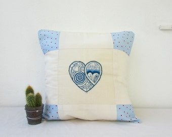 Hand embroidered cushion cover, 16 inch pillow, heart embroidery, patchwork pillow cover country cottage chic, handmade in the UK