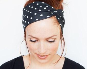 Black Polka Dot Headband - Black Headband Black Turban Yoga Headband Workout Fitness Running Christmas Stocking Stuffers Pinup Headband