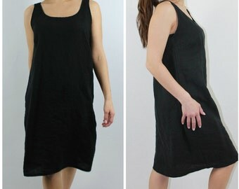 Linen Sundress Black / Tank / Summer Dress / Black / Natural / Midi / Mid / Knee / Misses Country