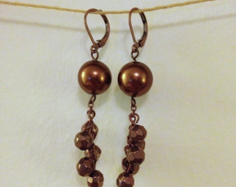 copper dangle drop earrings