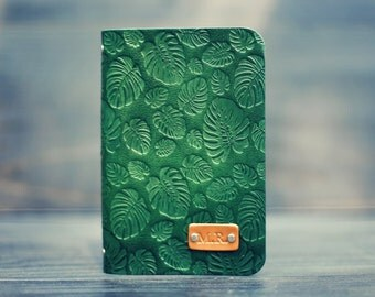 Personalized Leather journal, Notebook, Travel Diary, Journal, Sketchbook, Green tropic monstera leaves, palm handmade, Custom name initials