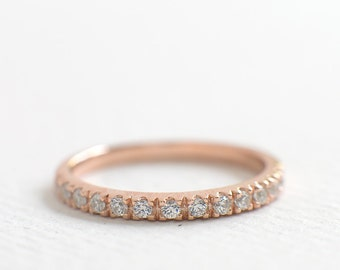 2mm Wedding Band - Rose Gold Half Eternity Band - Rose Gold Wedding Ring - Dainty Thin Ring - Rose Gold Band