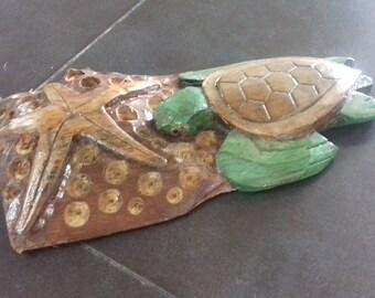 Driftwood sea turtle and starfish