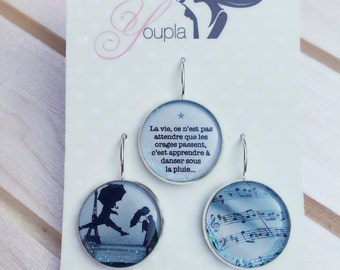 Trio of earrings in resin (18mm diameter) - Elliot Erwitt - trio 3 - collection the feather to the ear