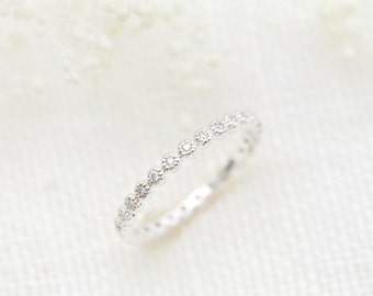 Platinum diamond full eternity band, Elegant platinum wedding band in pt950, Gorgeous platinum wedding ring, White diamond ring, dal-r104