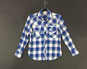 Plaid 90's Western Snap Button Shirt