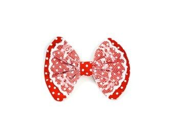 Polka Dot Red & White Lace Hair Bow Clip Fabric Spotty hairbow bow tie
