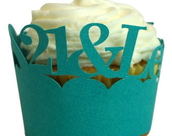Teal 21-&-Legalized Cupcake Wrappers, Set of 12