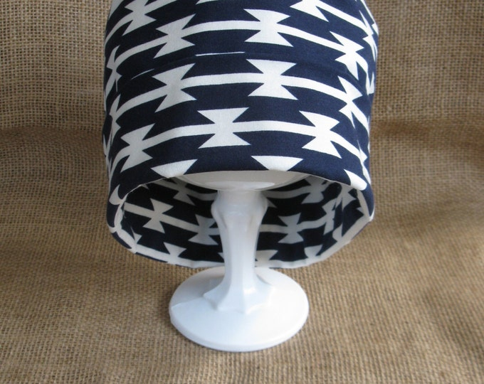 Chemo Hat Tribal Navy and White Cotton Men or Womens Chemo Cap and Beanie Headwear
