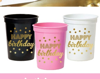 Birthday Cups - Happy Birthday Cups Pink and Gold Birthday Party Ideas Pink and Gold First Birthday Decorations (EB3104BY) - set of 25 CUPS