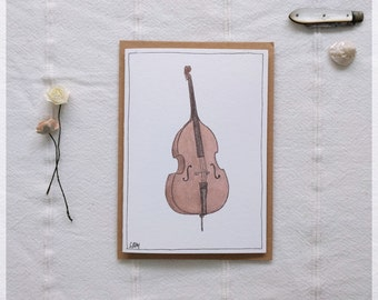 Double Bass ~ Gift Card featuring Watercolour & Ink Illustration