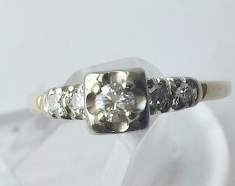 14kt White and Yellow Gold Vintage Diamond Engagement Ring Size 7