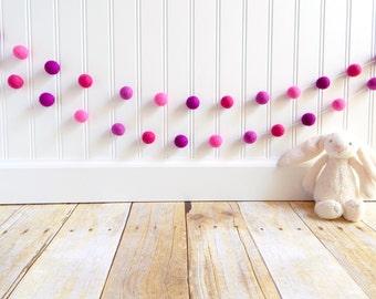 Pink Birthday Decor, Girl Nursery Decor, Pom Pom Garland, Valentine's Day, Girl Room, Girl Baby Shower Decor, Girl Party Decor, Pink, Purple