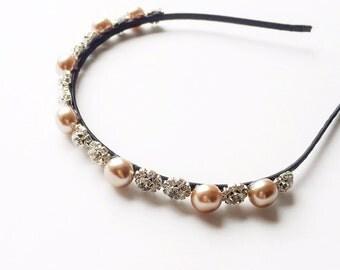 Karena Headband - Wedding headband - Boho headband - Pearl headband - Vintage style - Womens headband - Goddess headband - Pink Pearls