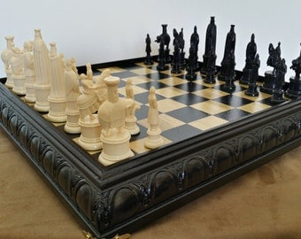 Gorgeous Florentine chess set hand crafted in Poplar and Ipwich Pine. Exquisitely embossed American hardwood frame, with underside storage.