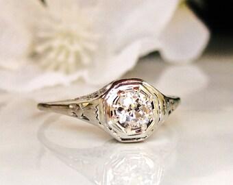 Antique Engagement Ring 0.33ct Old European Cut Diamond 14K White Gold Filigree Antique Wedding Ring Art Deco Engagement Ring Size 7!