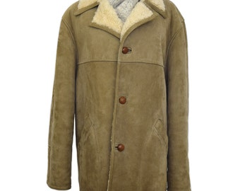 Vintage Coat, Sheepskin Coat Made in England, Shearling Coat, 1940s Coat, Men's Coat, Men's Clothing, Gift For Men, Winter Coat Men, Coat