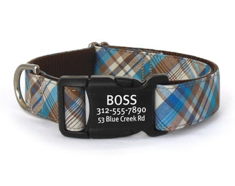 Personalized Dog Collar in a Blue, Teal and Brown Plaid with Laser Engraved Buckle - ID Dog Collar - Dog Collar Personalization