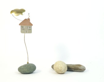 Pebble paper-weight little house,desk/office accessory,office decor,metal art sculpture object,unique hand made friends gift-new home gift