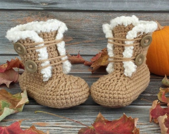 Size 4 Crochet Baby Boots - Baby Boots - Infant Boots - Baby Girl Boots - Toddler Boots - Fur Trim Boots