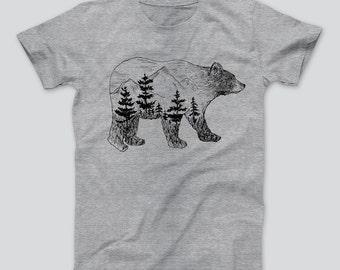 Bear Anatomy Grizzly T-Shirt Men Women T-Shirt Animal Graphic T-Shirt Tree Forest Grey Camper Hiking Papa Bear