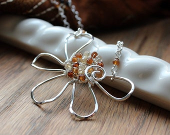 Daisy Flower Necklace. Argentium Silver Hessonite Garnet Daisy. Ornate Silver Daisy Flower Pendant. Wire Art Jewelry. Gift Idea For Her