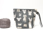 Sock knitting bag, corsets and petticoats small project bag, grey zipperless craft storage with snaps