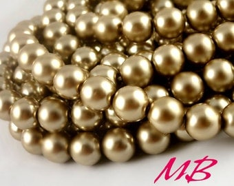 SALE - 50 pcs Preciosa Glass Pearl Beads, 10mm Cocoa Round Pearls, Light Brown