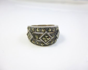 Sterling Silver Marcasite Ring, Marcasite Band Ring, Wide Ring, Vintage