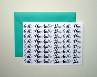 Hello There, boxed set of 5 blank notecards with turquoise envelopes