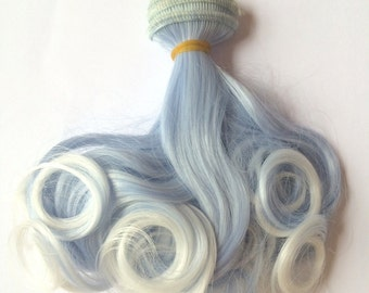Doll Hair Weft/ Doll Wig DIY/ BJD Doll Hair - Curly Light Blue  #T4020T1001