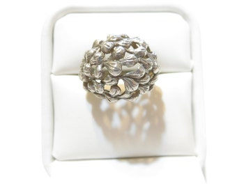 Antique  900 Silver Textured Dome Ring